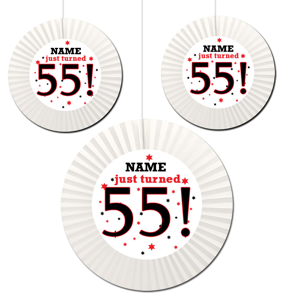 Click For Larger Picture Of 55TH BIRTHDAY CUSTOM FAN DECORATIONS PARTY SUPPLIES