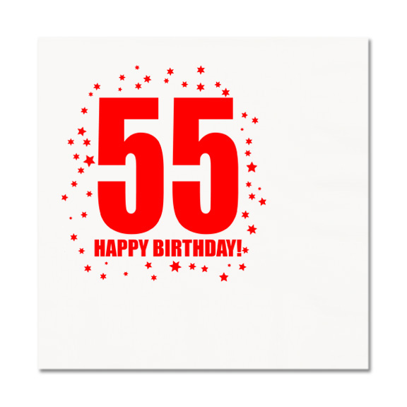 Click For Larger Picture Of 55TH BIRTHDAY LUNCHEON NAPKIN 16 PKG PARTY SUPPLIES