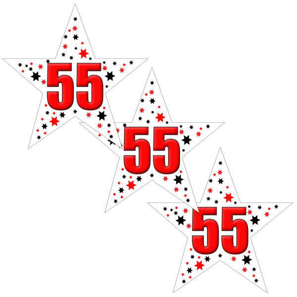 Click For Larger Picture Of 55TH BIRTHDAY STAR STICKER PARTY SUPPLIES