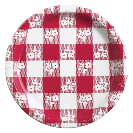 Click for larger picture of RED GINGHAM 10.25IN. BNQT PLATE (96/CS) PARTY SUPPLIES