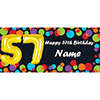 BALLOON 57TH BIRTHDAY CUSTOMIZED BANNER PARTY SUPPLIES