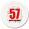 57TH BIRTHDAY DESSERT PLATE 8-PKG PARTY SUPPLIES