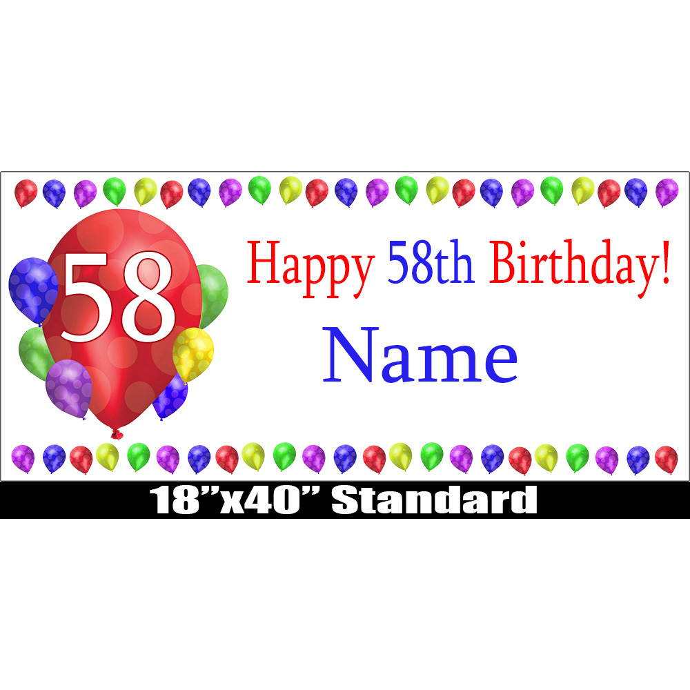 Click For Larger Picture Of 58TH BIRTHDAY BALLOON BLAST NAME BANNER PARTY SUPPLIES