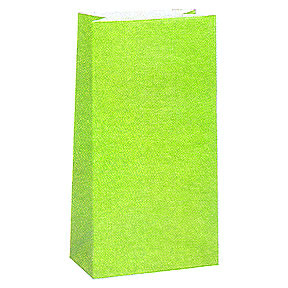 Click for larger picture of LIME GREEN PAPER PARTY BAG PARTY SUPPLIES