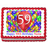 59TH BIRTHDAY BALLOON BLAST EDIBLE IMAGE PARTY SUPPLIES