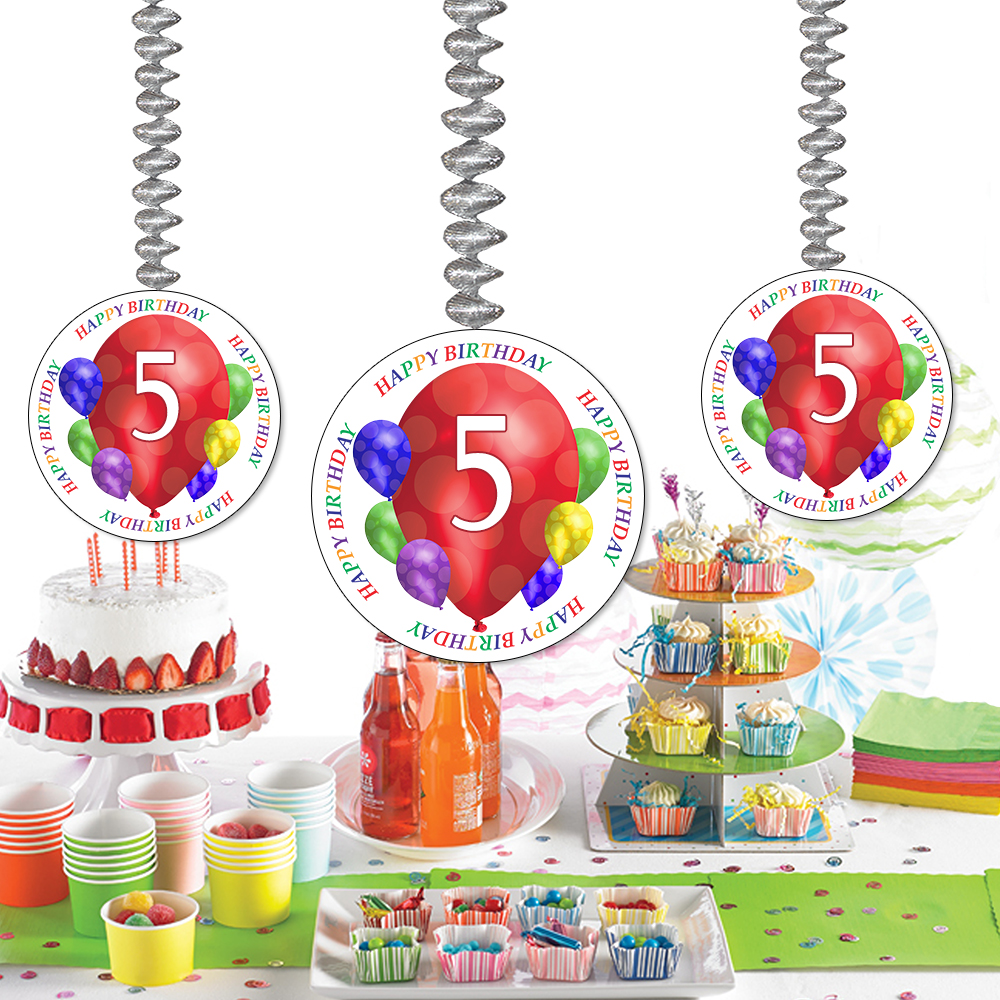 Click For Larger Picture Of 5TH BIRTHDAY BALLOON BLAST DANGLER PARTY SUPPLIES