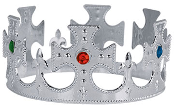 Click for larger picture of KINGS CROWN PLASTIC JEWELED SILVER PARTY SUPPLIES