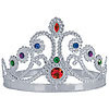 QUEENS TIARA PLASTIC JEWELED SILVER PARTY SUPPLIES