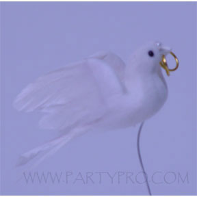 FEATHER DOVES WITH RINGS - 3 INCHES PARTY SUPPLIES