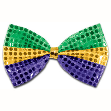 Click for larger picture of MARDI GRAS GLITZ 'N GLEAM BOW TIE(12/CS) PARTY SUPPLIES
