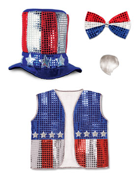 Click for larger picture of UNCLE SAM SET INCLUDES: VEST (1/CASE) PARTY SUPPLIES