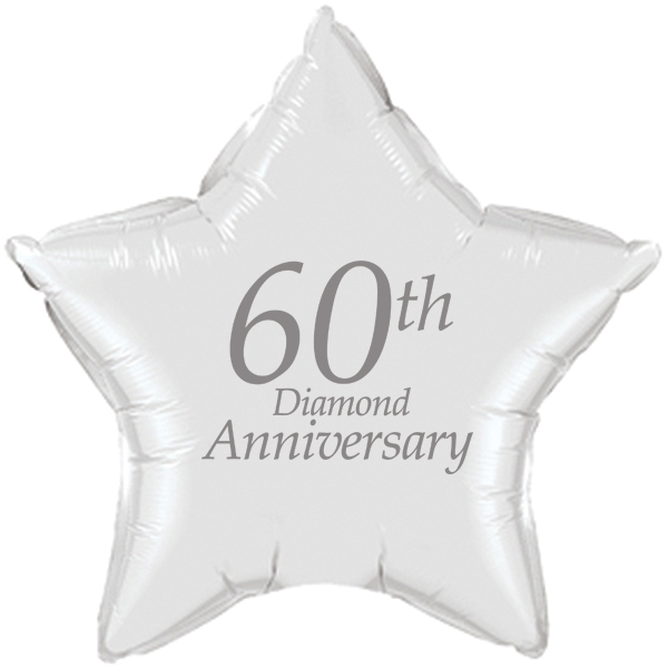Click For Larger Picture Of 60th Anniversary Mylar Balloon Party Supplies
