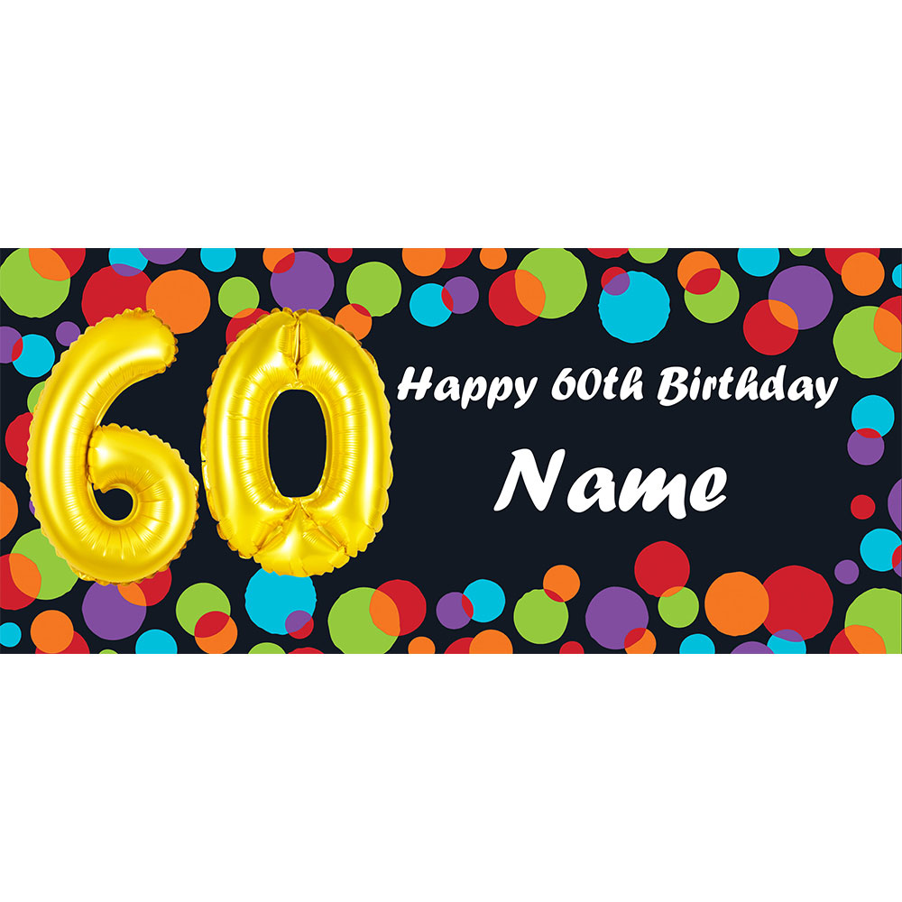 Click For Larger Picture Of BALLOON 60TH BIRTHDAY CUSTOMIZED BANNER PARTY SUPPLIES