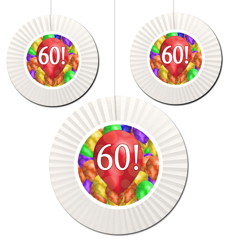 Click For Larger Picture Of 60TH BIRTHDAY BALLOON BLAST FAN DECORATI PARTY SUPPLIES