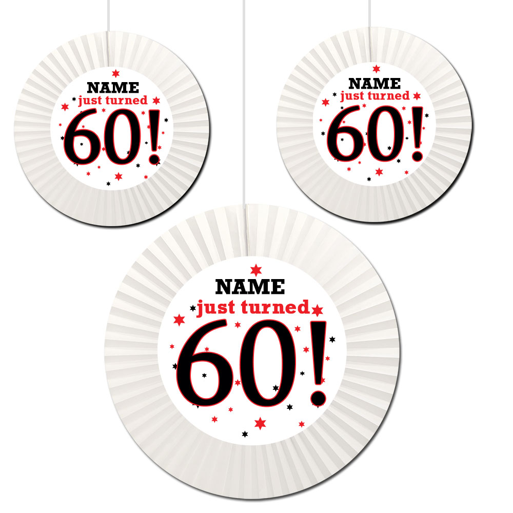 Click For Larger Picture Of 60TH BIRTHDAY CUSTOM FAN DECORATIONS PARTY SUPPLIES