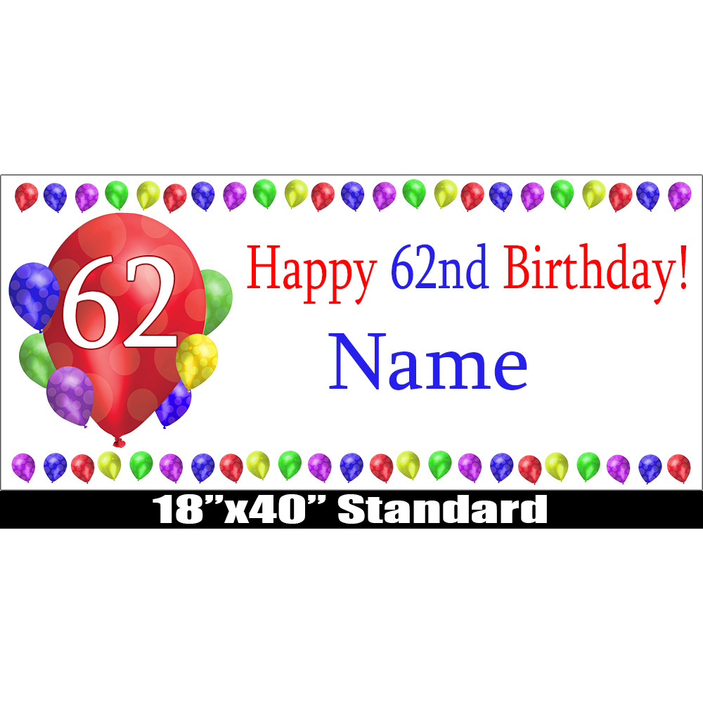Click For Larger Picture Of 62ND BIRTHDAY BALLOON BLAST NAME BANNER PARTY SUPPLIES