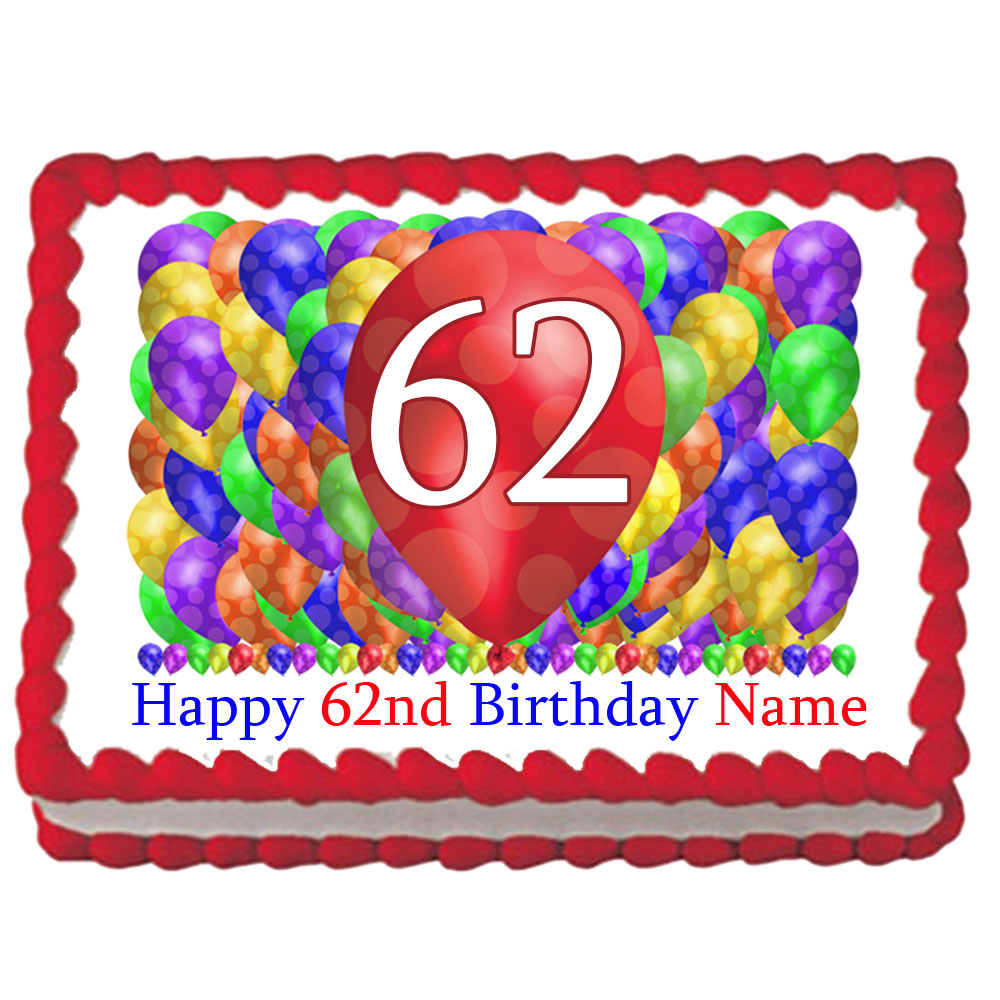 Click For Larger Picture Of 62ND BIRTHDAY BALLOON BLAST EDIBLE IMAGE PARTY SUPPLIES