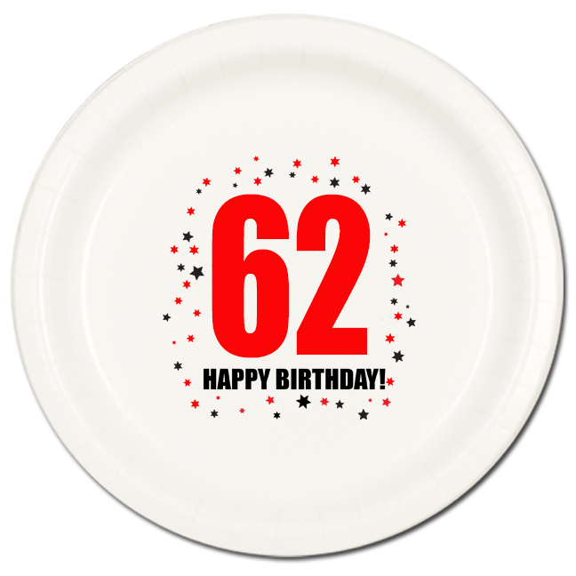 Click for larger picture of 62ND BIRTHDAY DINNER PLATE 8-PKG PARTY SUPPLIES