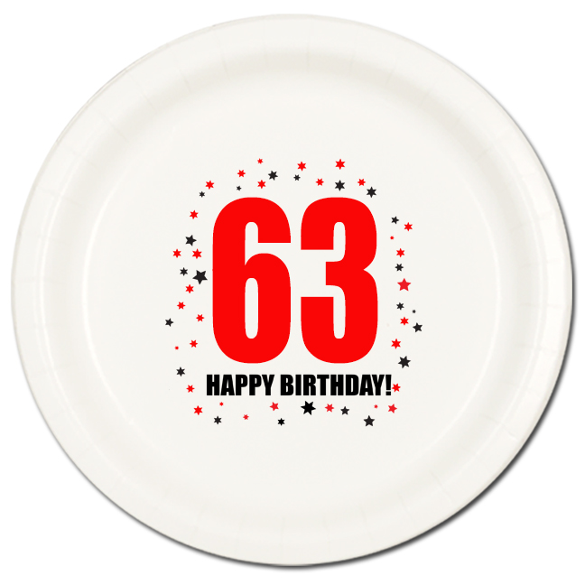 Click for larger picture of 63RD BIRTHDAY DINNER PLATE 8-PKG PARTY SUPPLIES