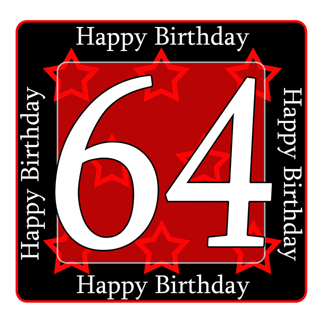 64 Happy Birthday Party Supplies 64th Coaster