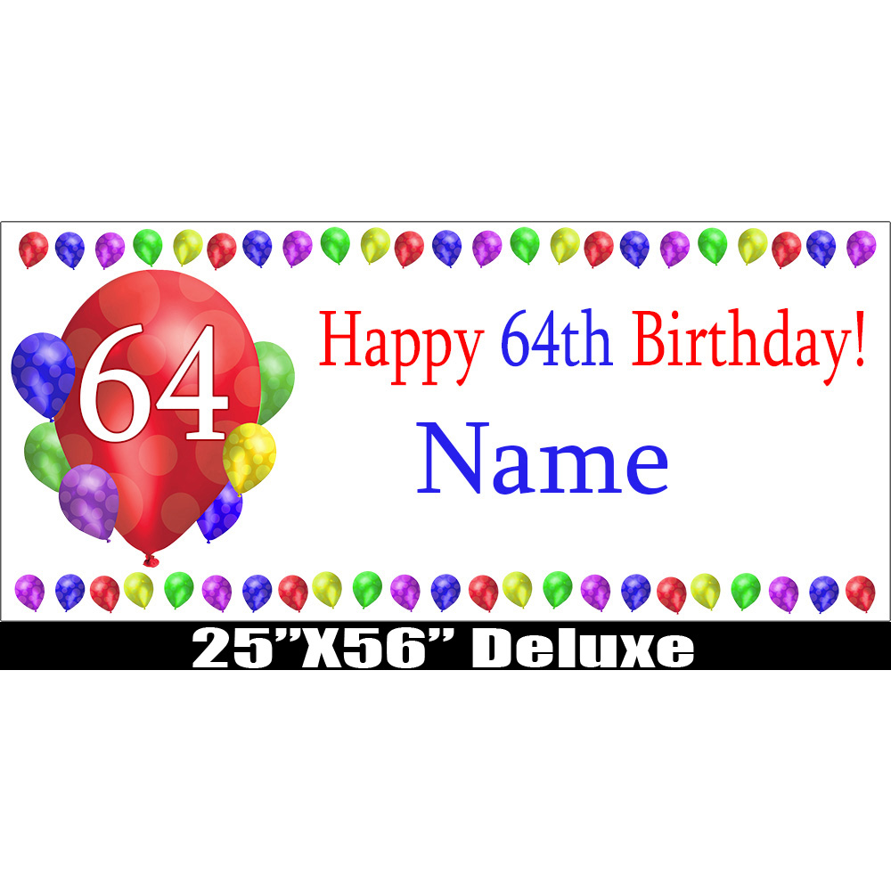 Click for larger picture of 64TH BIRTHDAY BALLOON BLAST DELUX BANNER PARTY SUPPLIES