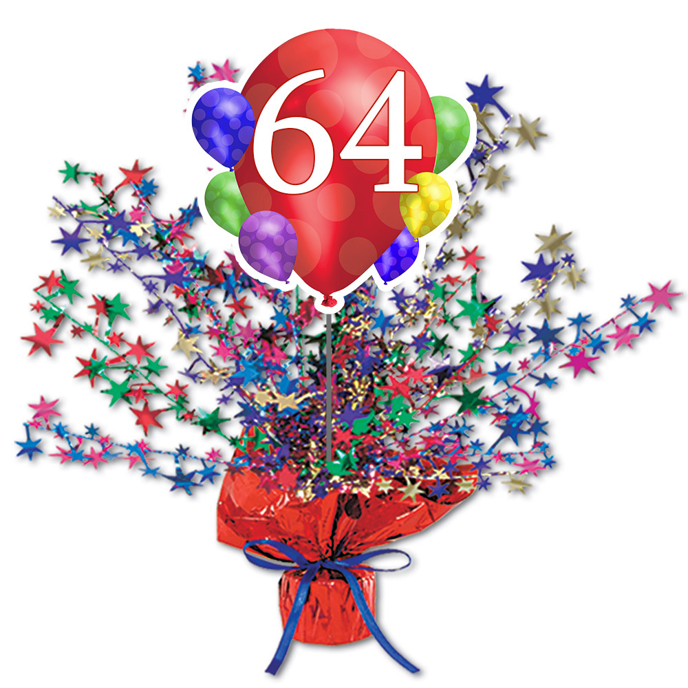 Click for larger picture of 64TH BALLOON BLAST CENTERPIECE PARTY SUPPLIES