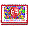 64TH BIRTHDAY BALLOON BLAST EDIBLE IMAGE PARTY SUPPLIES
