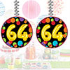 64TH BIRTHDAY BALLOON DANGLER 3/PKG PARTY SUPPLIES
