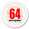 64TH BIRTHDAY DESSERT PLATE 8-PKG PARTY SUPPLIES
