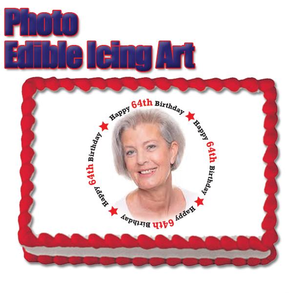 Click for larger picture of 64TH BIRTHDAY PHOTO EDIBLE ICING ART PARTY SUPPLIES