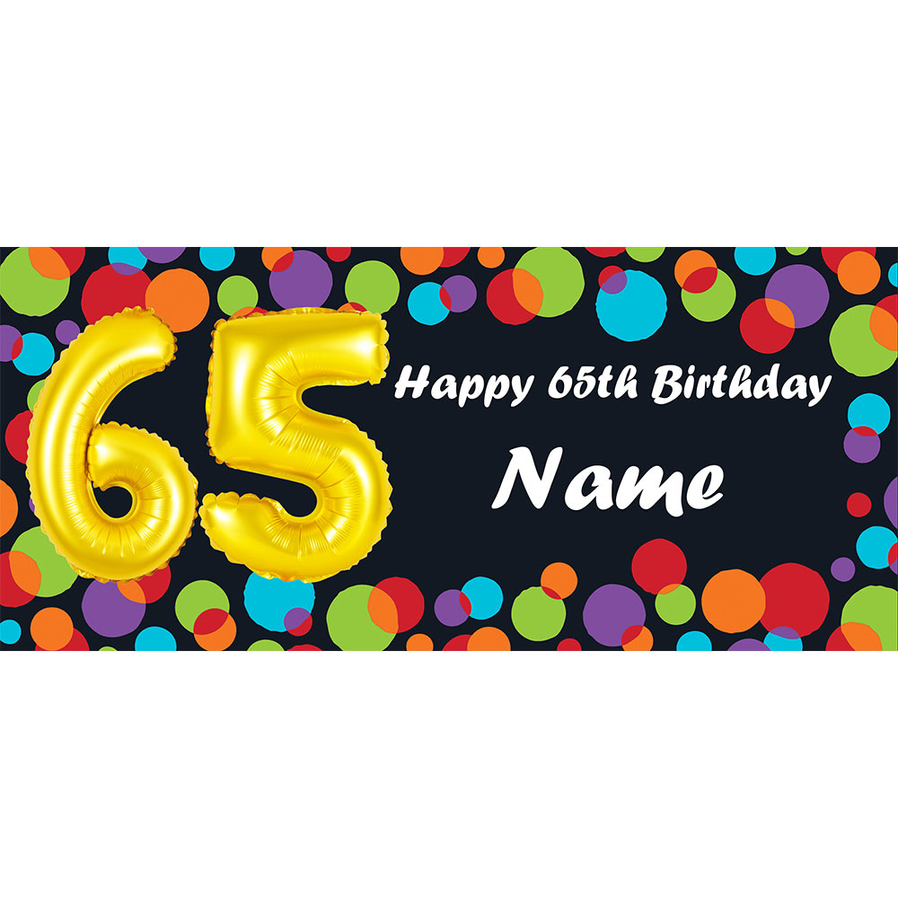 Click For Larger Picture Of BALLOON 65TH BIRTHDAY CUSTOMIZED BANNER PARTY SUPPLIES