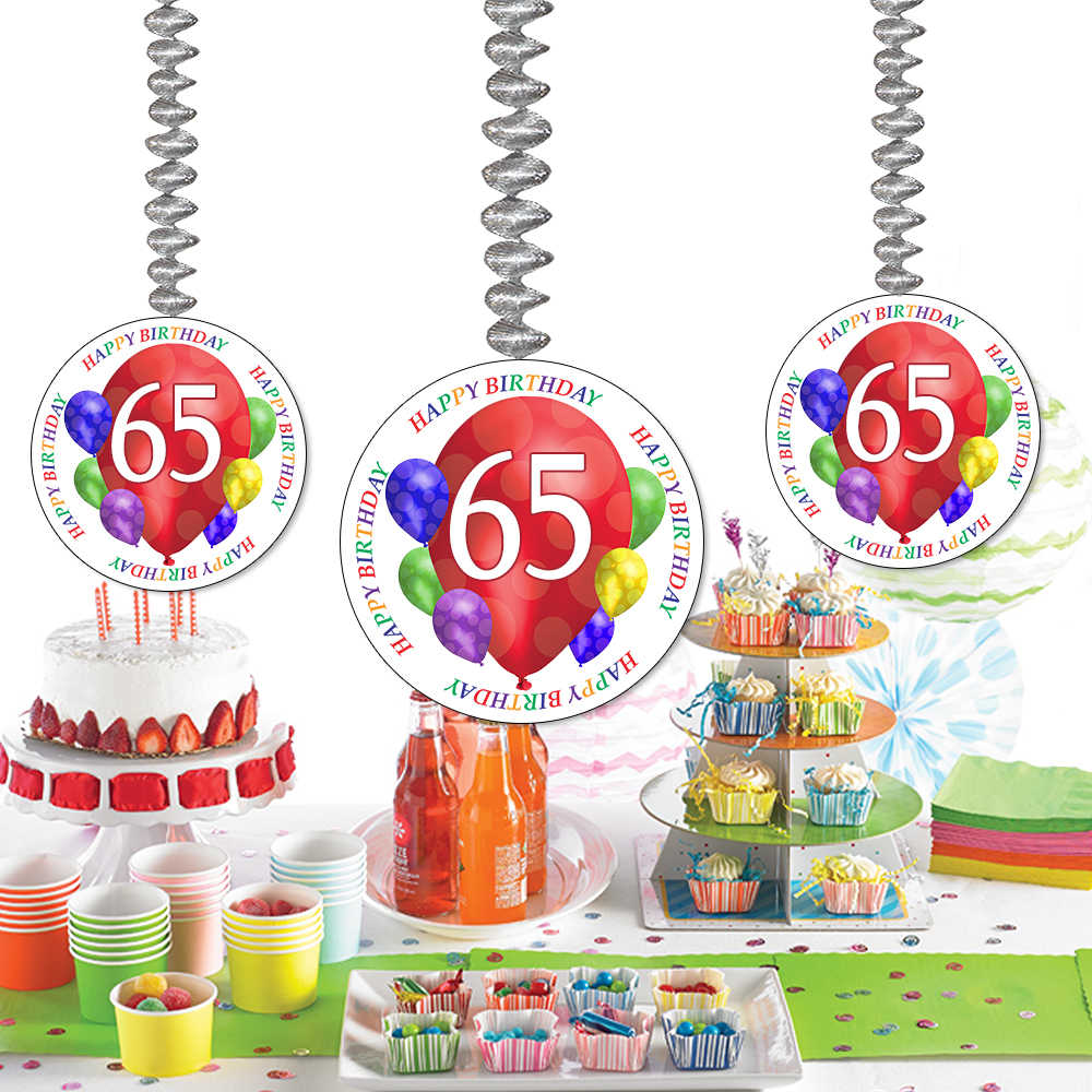 Click For Larger Picture Of 65TH BIRTHDAY BALLOON BLAST DANGLER PARTY SUPPLIES