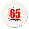 65TH BIRTHDAY DINNER PLATE 8-PKG PARTY SUPPLIES
