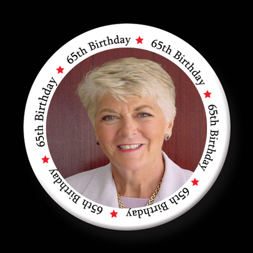 Click for larger picture of 65TH BIRTHDAY PHOTO BUTTON PARTY SUPPLIES