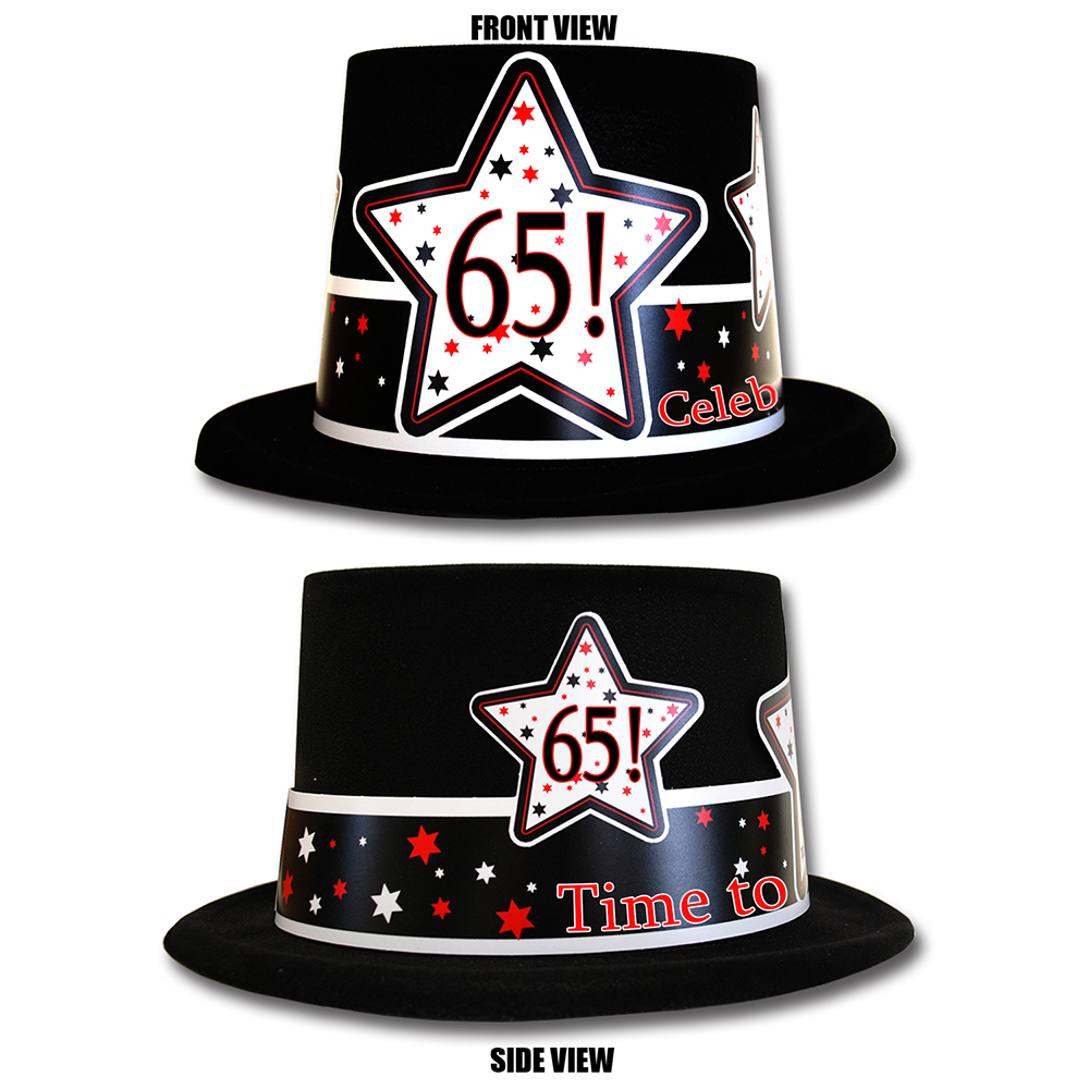 Click For Larger Picture Of 65TH BIRTHDAY TIME TO CELEBRATE TOP HAT PARTY SUPPLIES