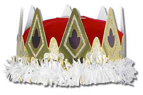 Click for larger picture of ROYAL QUEEN'S CROWN RED VELVET-TEXTURED PARTY SUPPLIES