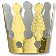 Click for larger picture of MINIATURE GOLD FOIL CROWNS W/ELASTICS A PARTY SUPPLIES