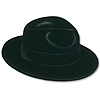 BLACK VELOUR FEDORA PLASTIC BACKED 24/CS PARTY SUPPLIES