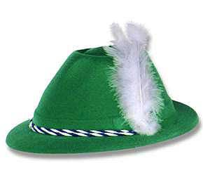 Click for larger picture of GREEN VELOUR TYROLEAN HAT PARTY SUPPLIES