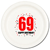 69TH BIRTHDAY DINNER PLATE 8-PKG PARTY SUPPLIES