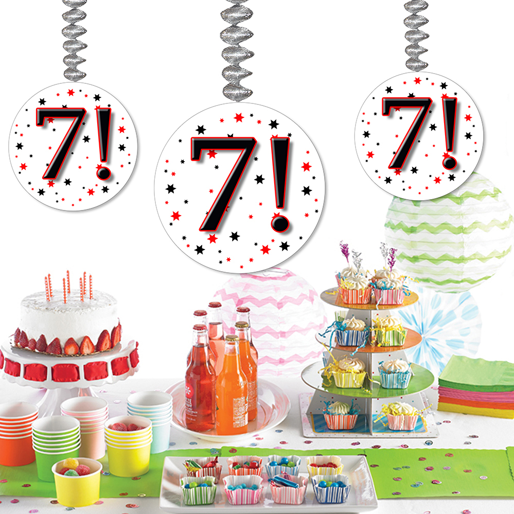 Click for larger picture of 7! DANGLER DECORATION 3/PKG PARTY SUPPLIES