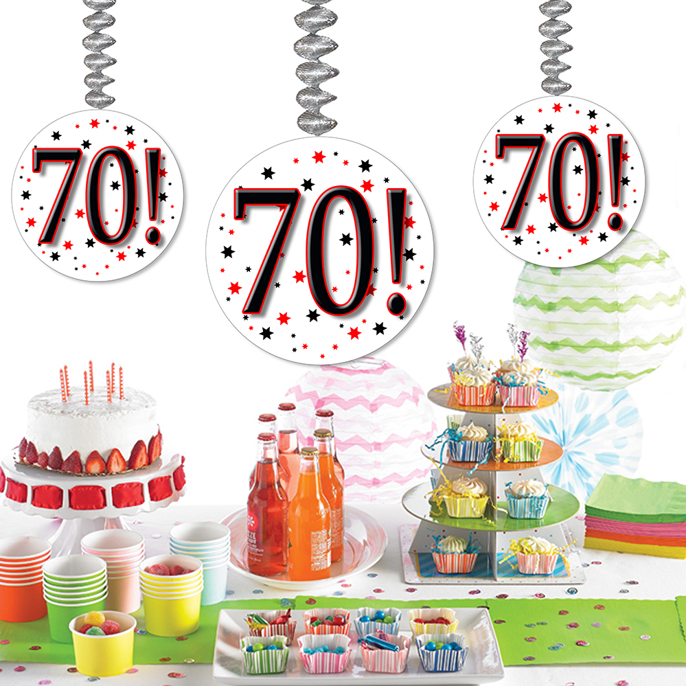 Click for larger picture of 70! DANGLER DECORATION 3/PKG PARTY SUPPLIES