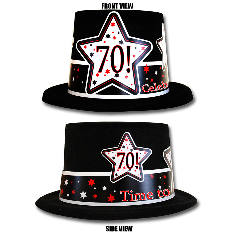 Click For Larger Picture Of 70TH BIRTHDAY TIME TO CELEBRATE TOP HAT PARTY SUPPLIES