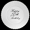 70TH CLASSY BLACK PLASTIC DINNER PLATE PARTY SUPPLIES