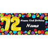 BALLOON 72ND BIRTHDAY CUSTOMIZED BANNER PARTY SUPPLIES