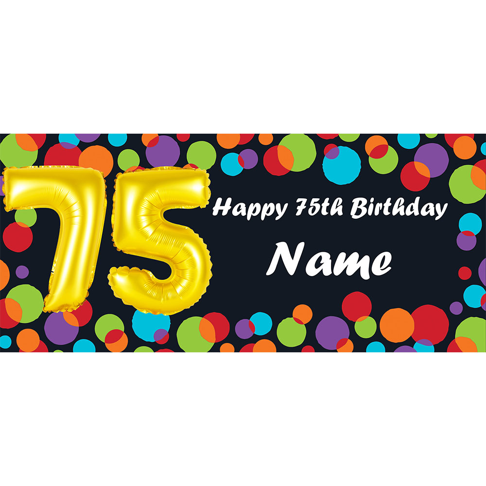 Click For Larger Picture Of BALLOON 75TH BIRTHDAY CUSTOMIZED BANNER PARTY SUPPLIES