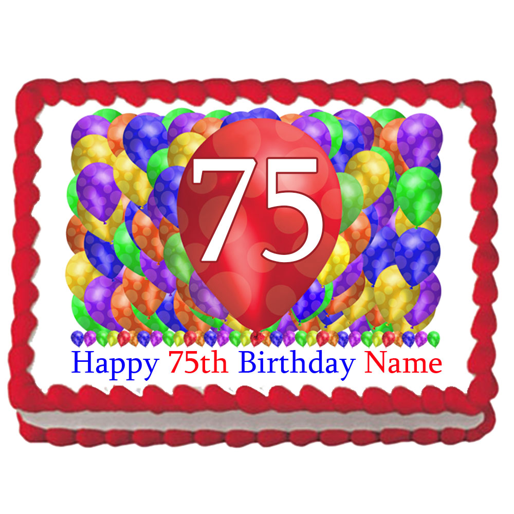 Click For Larger Picture Of 75TH BIRTHDAY BALLOON BLAST EDIBLE IMAGE PARTY SUPPLIES