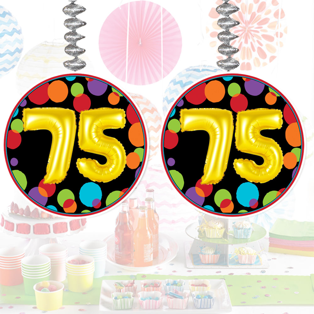 Click For Larger Picture Of 75TH BIRTHDAY BALLOON DANGLER PARTY SUPPLIES