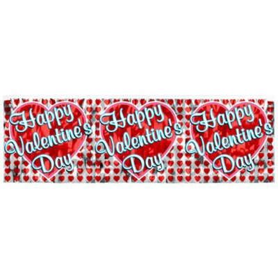 click for larger picture of discontinued happy valentine day banner party supplies