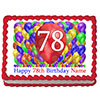 78TH BIRTHDAY BALLOON BLAST EDIBLE IMAGE PARTY SUPPLIES